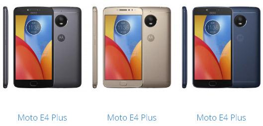 Moto E4 и Moto E4 Plus показались в трех цветовых вариантах