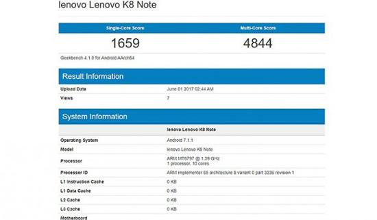 Смартфон Lenovo K7 Note засветился в бенчмарке