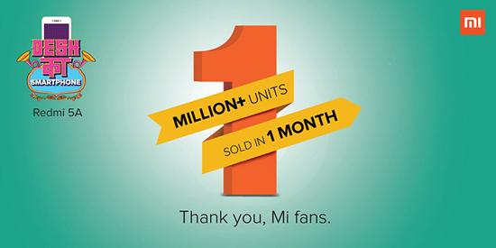 Продажи Xiaomi Redmi 5A запервый месяц превысили 1 млн единиц