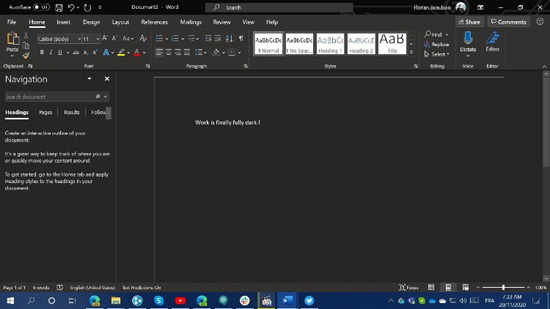 В Microsoft Word появится полностью тёмная тема оформления
